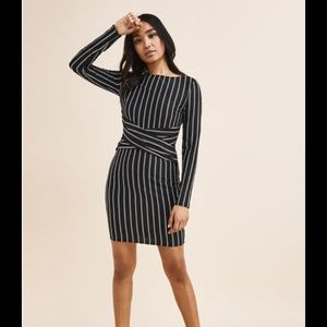 Black and white striped pin dress.